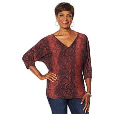 Vanessa Williams Safari Double V-Neck Lace Detail Sweater