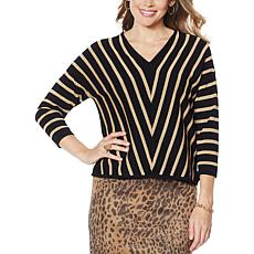 Vanessa Williams V-Neck Stripe Sweater
