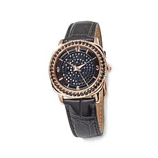 Victoria Wieck 3.83ctw Black Spinel Leather Strap Watch