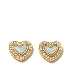 "Victoria Wieck Absolute™ Synthetic Opal ""Heart"" Studs"