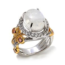 Victoria Wieck Moonstone and Gemstone 2-Tone Ring