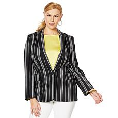 Vince Camuto Black Stripe Notch Collar Blazer