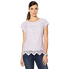 Vince Camuto Border Lace Extended Shoulder Blouse