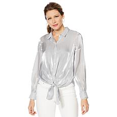 Vince Camuto Iridescent Button-Down Tie-Front Blouse