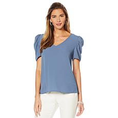 Vince Camuto Puff Shoulder V-Neck Blouse