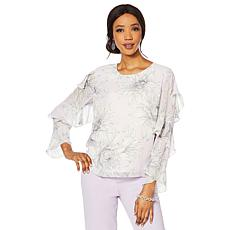 Vince Camuto Ruffle-Sleeve Print Blouse