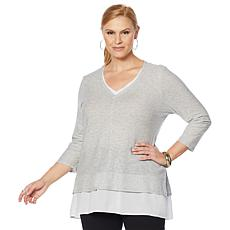 Vince Camuto V-Neck Mixed Media Tunic