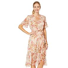 Vince Camuto Wildflower Ruffle-Sleeve Dress