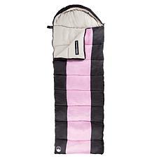 Wakeman Outdoors 3-Season Sleeping Bag with Carry Bag - Pink/Navy