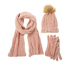 Warm and Cozy 3-piece Chenille Hat, Scarf and Gloves Set