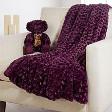 Warm & Cozy Faux Fur Throw & Teddy Bear Gift Set