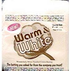 Warm and White Cotton Batting - Queen Size