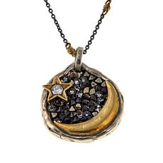 "Waxing Poetic® ""Eveningstar"" Moon and Star 2-Tone Pendant with Chain"