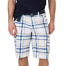 WearFirst Men's Kahlua Plaid Printed Cotton Nylon Belted Cargo Short