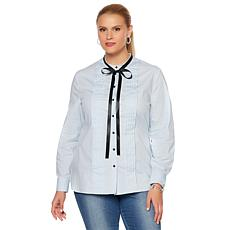 Wendy Williams Poplin Tuxedo Blouse with Neck Tie