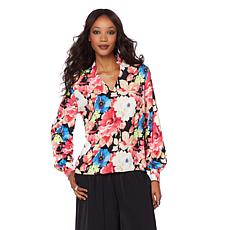 Wendy Williams V-Neck Blouse with Gathered Sleeve