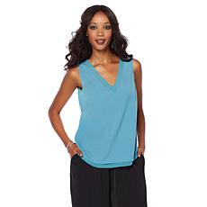 Wendy Williams V-Neck Tank with Chiffon Trim