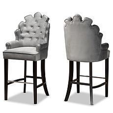 Wholesale Interiors Chloe Velvet Upholstered 2-Piece Bar Stool Set
