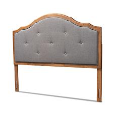 Wholesale Interiors Gala Grey Fabric & Walnut Finished Queen Size Arch
