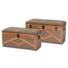 Wholesale Interiors Kala Upholstered Storage Ottoman Trunk 2-Piece Set