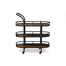 Wholesale Interiors Karlin Metal and Wood Mobile Wine Cart