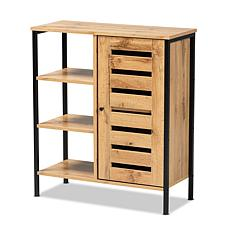 Wholesale Interiors Vander Oak Brown Wood and Black Metal Shoe Cabinet