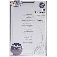 Wilton 100-pack Single Border Invitation Kit - White