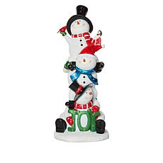 "Wind and Weather 55"" Painted Resin Stacked Snowmen Statue"