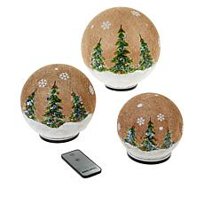 Wind & Weather Burlap-Covered Glass Globes - Set of 3