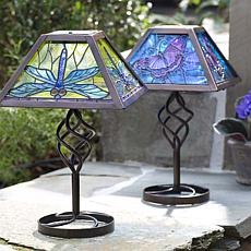 Wind and Weather Butterfly Solar Tiffany-Style Table Lamp