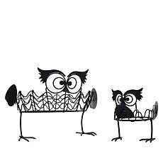 Wind & Weather Set of 2 Owl Pumpkin Holders