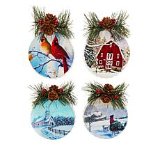 Wind and Weather Set of 4 Metal Mini Bottle Cap Ornaments