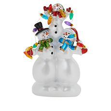 Wind & Weather Stacked Snowmen LED Statuette