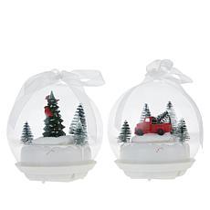 Winter Lane 2 Tabletop Musical LED Ornaments w/Rotating Scene & Timer