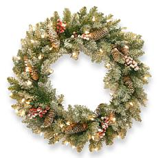 "Winter Lane 24"" Dunhill Fir Wreath w/Lights"