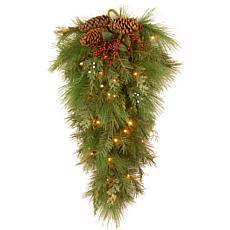 "Winter Lane 28""Battery-Operated White Pine Wall Teardrop"