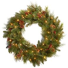 "Winter Lane 30"" Battery-Operated Noble Mixed Wreath"