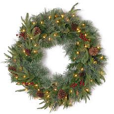 """Winter Lane 30"""" Colonial """"Feel-Real"""" Wreath w/Lights"""