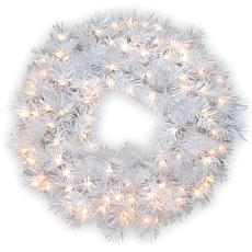 "Winter Lane 30"" Wispy Willow White Wreath w/Lights"