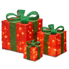 "Winter Lane 6""/10""/14"" Assorted Red Sisal Gift Boxes"