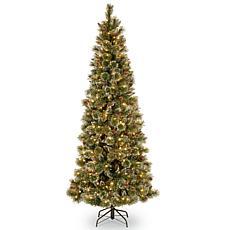 Winter Lane 7-1/2' Glittery Bristle Slim Pine Tree w/Lights