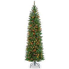 Winter Lane 7-1/2' Kingswood Hinged Pencil Tree w/Multicolor