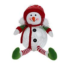 Winter Lane Glass LED Sitting Snowman with Timer