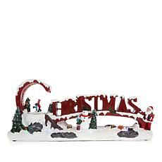 Winter Lane Moving LED Lit Musical Christmas Scene