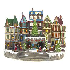 Winter Lane Moving Lighted Musical Village Scene