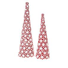Winter Lane Peppermint Candy Tree Set of 2