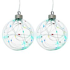 Winter Lane Set of 2 Glass Multicolor LED Ornaments