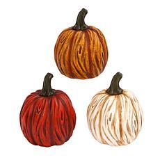 Winter Lane Set of 3 Resin Pumpkins