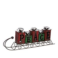 Winter Lane Sleigh Candleholder - Peace