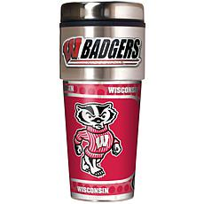 Wisconsin Badgers Travel Tumbler w/ Metallic Graphics and Team Logo